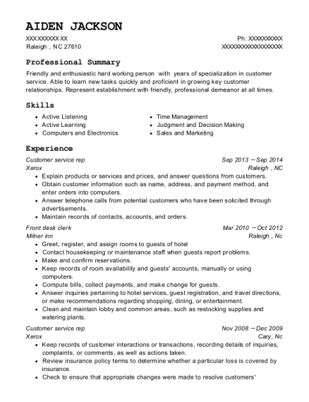 Customer service rep resume example North Carolina