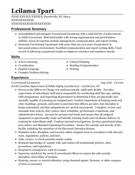 Correctional Lieutenant resume template North Carolina