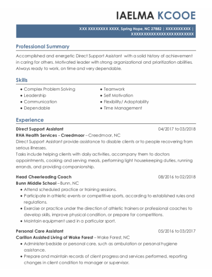 Direct Support Assistant resume example North Carolina