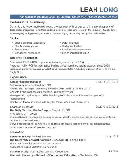 Rental Property Manager resume sample North Carolina