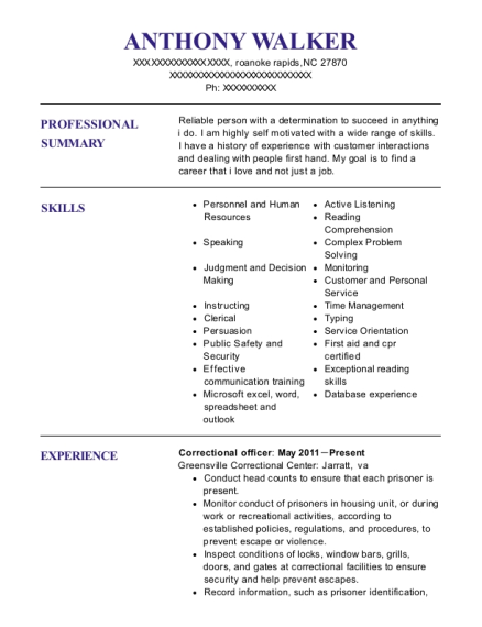 Correctional Officer resume format North Carolina