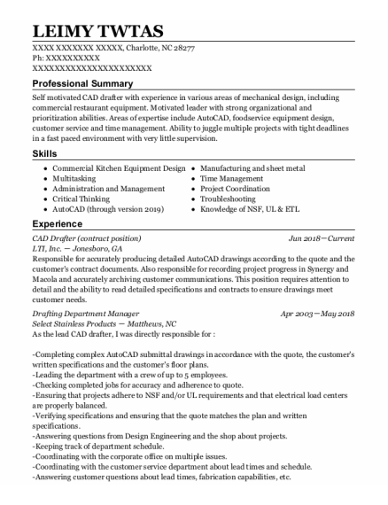 Product Engineer resume format North Carolina