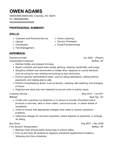 Daycare provider resume template North Carolina