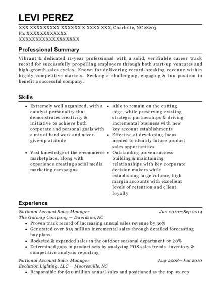 National Account Sales Manager resume example North Carolina