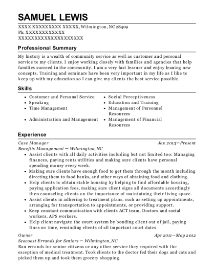Case Manager resume sample North Carolina