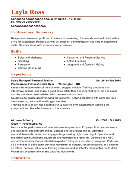 Sales Manager resume template North Carolina