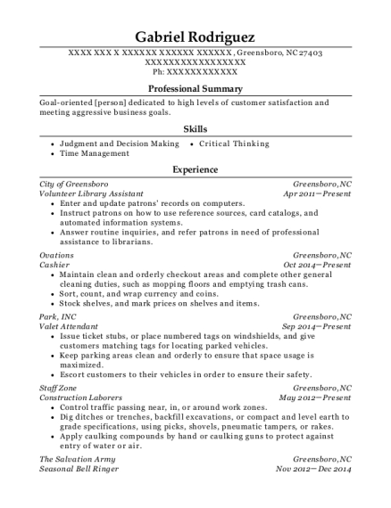 Volunteer Library Assistant resume template North Carolina