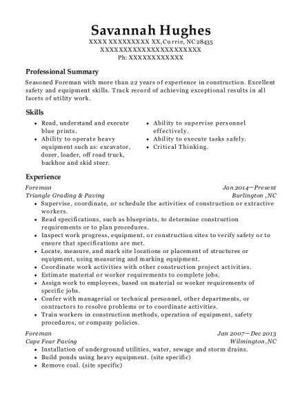 Foreman resume sample North Carolina