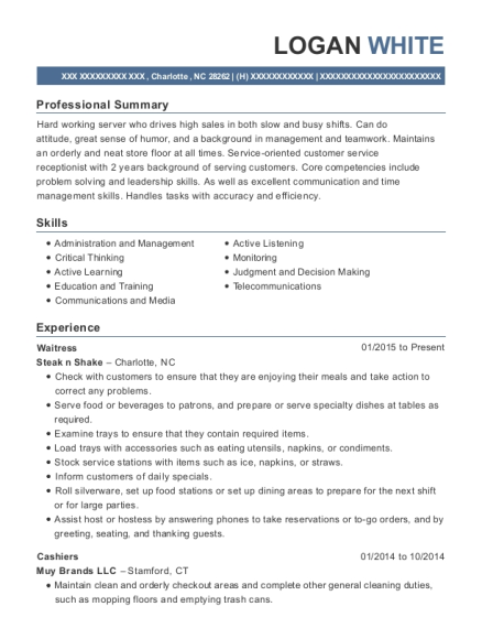 Waitress resume sample North Carolina