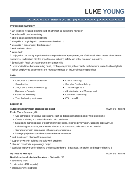 outage manager resume format North Carolina