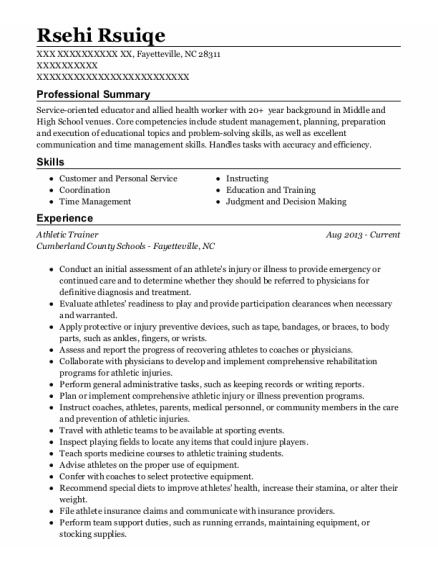 Athletic Trainer resume template North Carolina