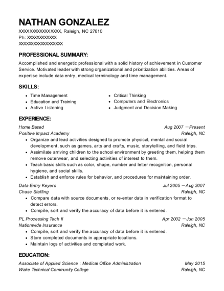 Home Based resume example North Carolina