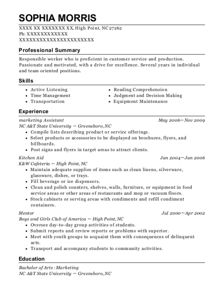 Marketing Assistant resume example North Carolina