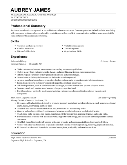 Sales and delivery resume format North Carolina