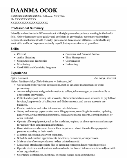 Office Assistant resume sample North Carolina