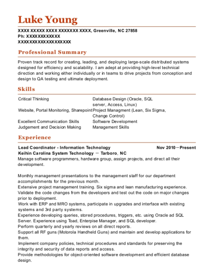Lead Coordinator Information Technology resume example North Carolina