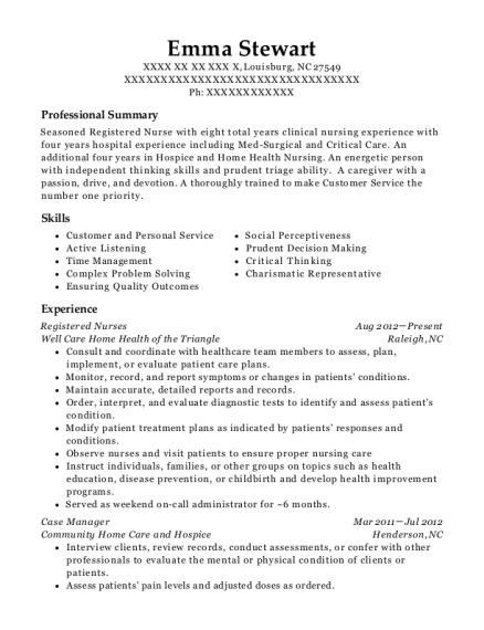 Registered Nurses resume example North Carolina