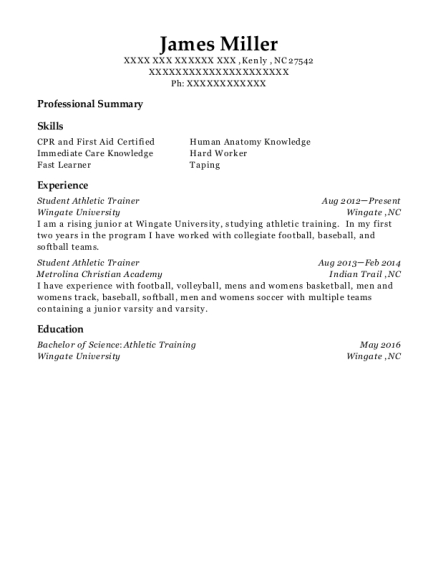 Student Athletic Trainer resume template North Carolina