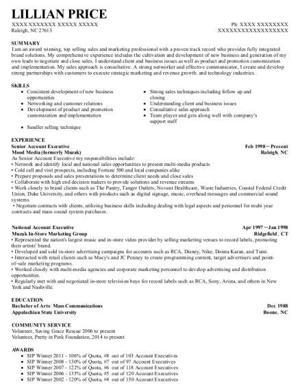 Senior Account Executive resume template North Carolina