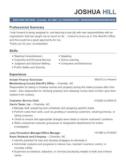 Inmate Finance Technician resume template North Carolina