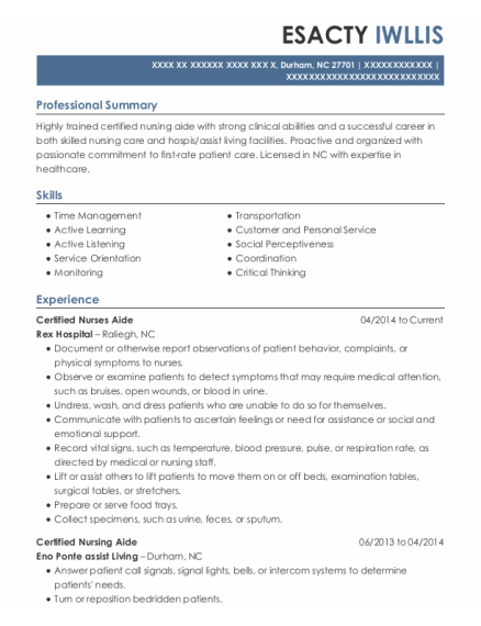 Certified Nurses Aide resume template North Carolina