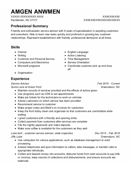 Service Advisor resume format North Carolina