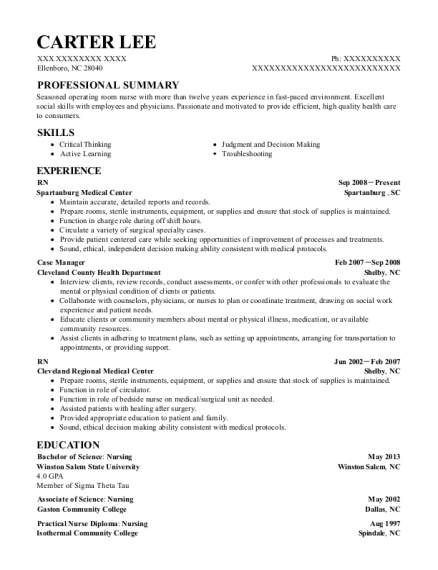 RN resume format North Carolina