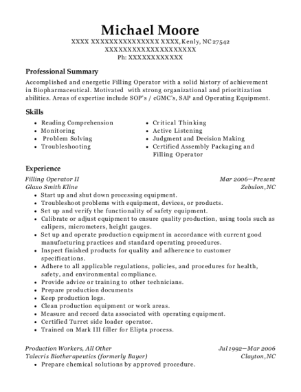 Filling Operator II resume format North Carolina
