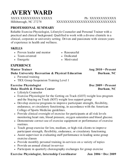 Master Trainer resume example North Carolina