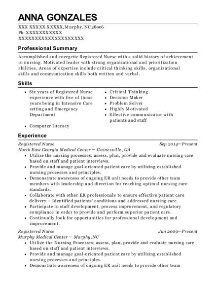 Registered Nurse resume format North Carolina