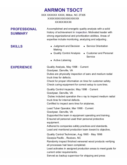 Quality Control Technician resume example North Carolina