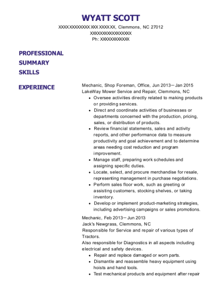 Mechanic resume example North Carolina