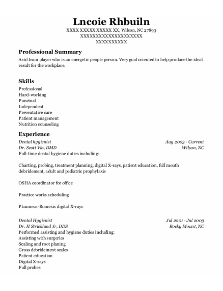 Dental Hygienist resume sample North Carolina