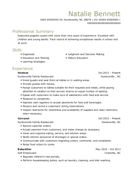 Hostess resume sample North Carolina