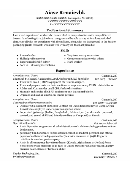 Chemical Operator resume format North Carolina