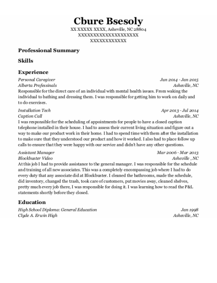 Personal Caregiver resume template North Carolina