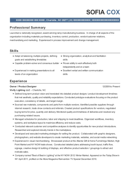 Owner resume sample North Carolina