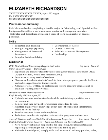 CPR resume format North Carolina