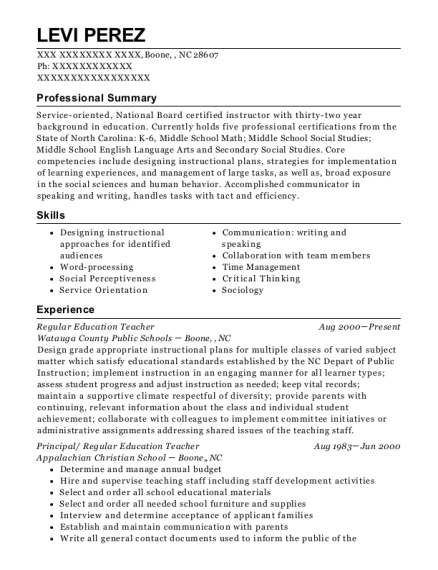 Regular Education Teacher resume format North Carolina