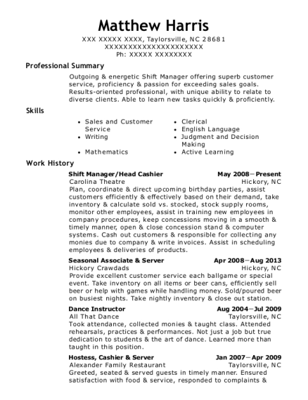 Shift Manager resume format North Carolina