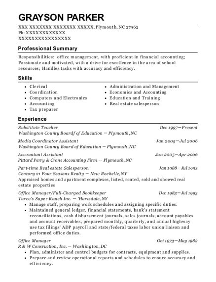 Substitute Teacher resume example North Carolina