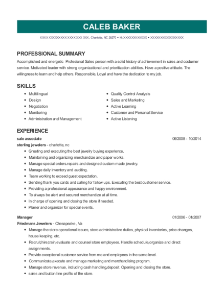 sale associate resume template North Carolina