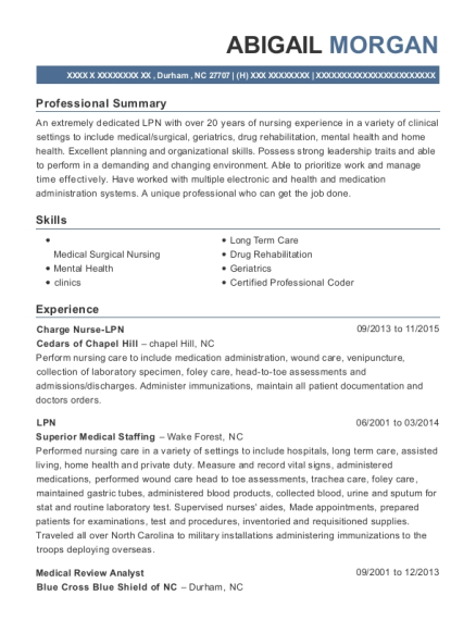 Charge Nurse LPN resume sample North Carolina