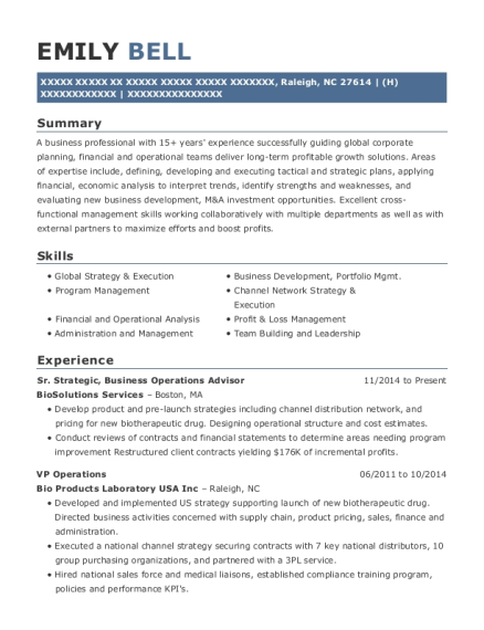 Sr Strategic resume template North Carolina