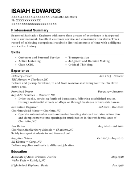 Delivery Driver resume example North Carolina