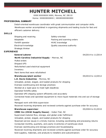 General Laborer resume example North Carolina