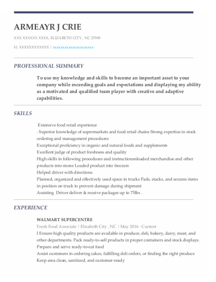 Delivery Route Driver resume example North Carolina