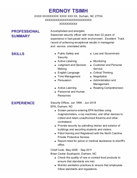 Security officer resume format North Carolina
