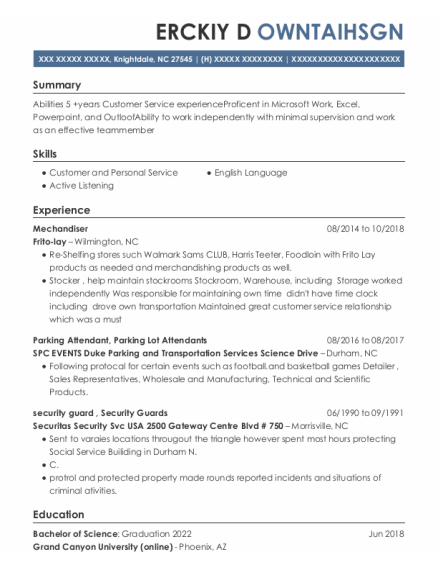 Parking Attendant resume sample North Carolina