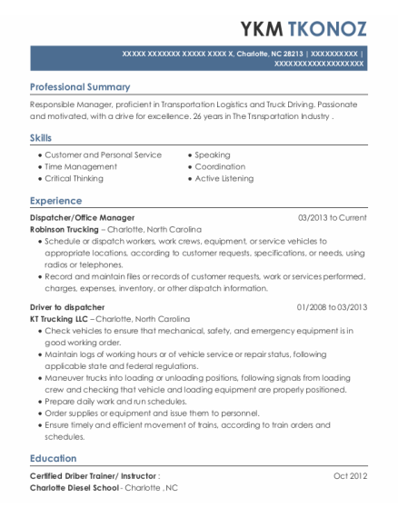 Dispatcher resume template North Carolina